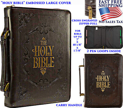 BIBLE CASE COVER CARRYING HANDLE LEATHER ZIPPER LARGE POCKET GOLD COVER TITLE