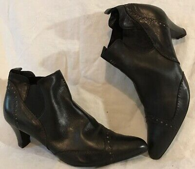 Henry Beguelin Black Ankle Leather Lovely Boots Size 38.5 (636QQ)