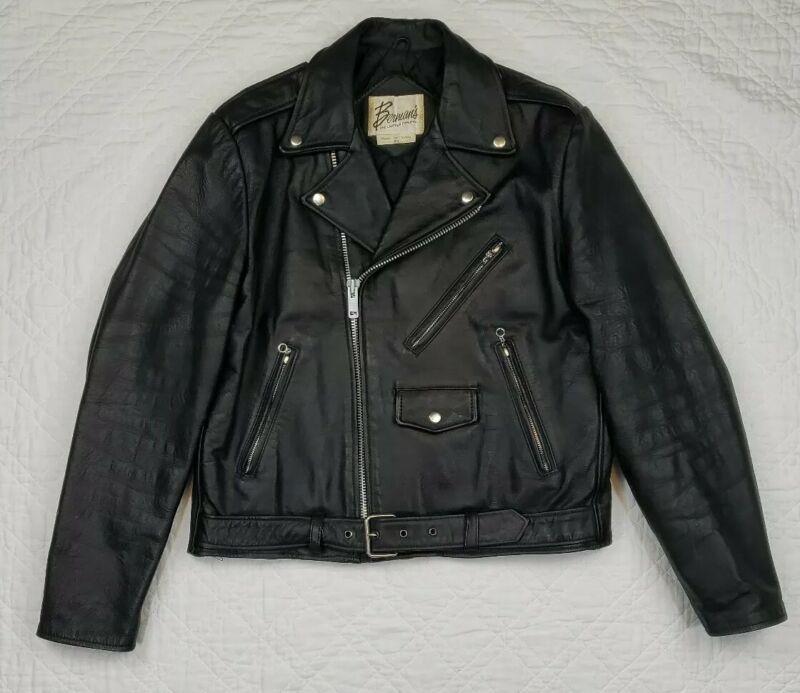 VTG Bermans Black Biker Leather Jacket Side Zip Size 44