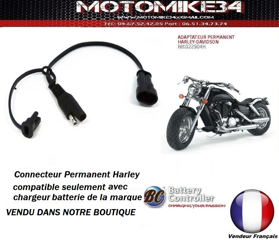 adaptateur permanent batterie harley davidson pour chargeur marque bc ebay. Black Bedroom Furniture Sets. Home Design Ideas