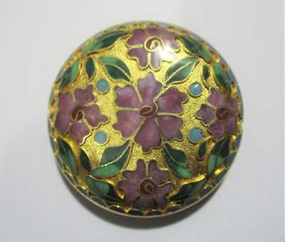 Vintage Cloisonné on Brass Disk Bead, Pink & Green Floral Design, 42.5mm