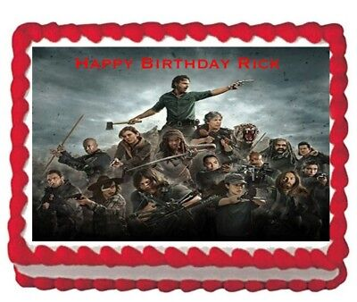 The Walking Dead Rick party edible cake topper 1/4 icing frosting sheet - Walking Dead Cakes