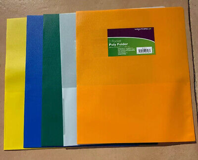 Wexford 2 Pocket Poly Folder Assorted Colors Lot Of 5 New Free Shipping G