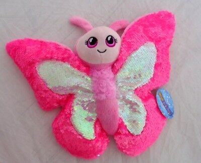 Reversible Sparkly to Matte Sequin Pink Butterfly Stuffed Animal Doll Plush 10