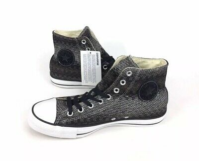 NEW Converse Chuck Taylor All Star Hi Black White Knit Mens Shoes Sneakers Sz 9