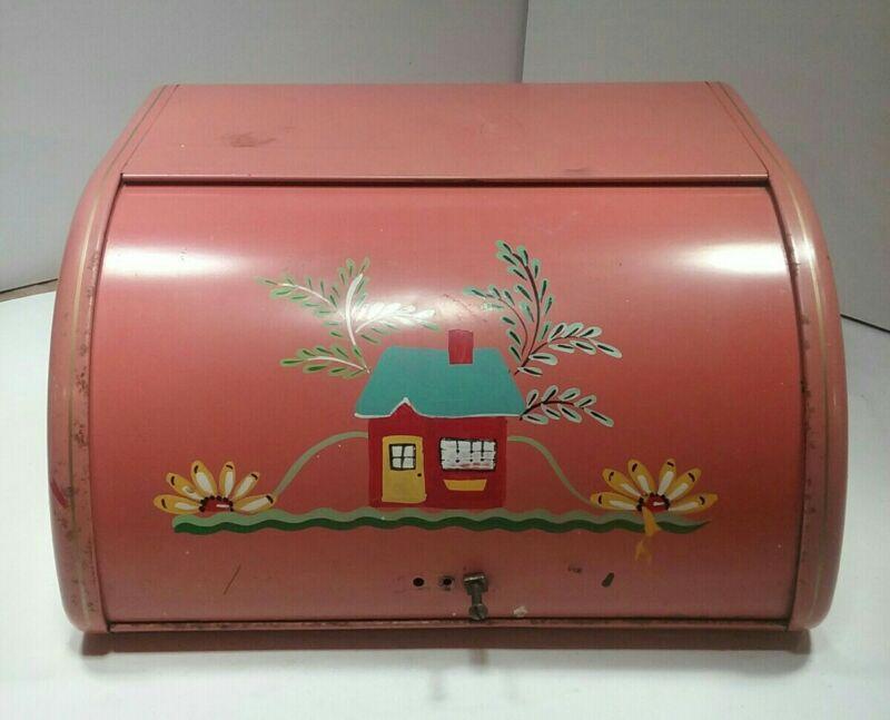 Vintage Ransburg Hand Painted Bread Box Pinkish Orange Color