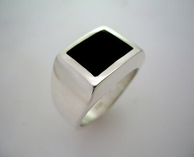 MENS HEAVY SQUARE BLACK ONYX INLAY RING STERLING SILVER