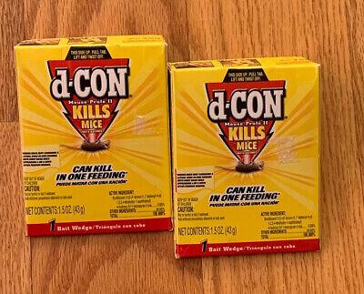 D-Con D Con MOUSE BAIT WEDGE 1.5 oz KILLS  MICE DCon Prufe ~ 2 UNITS 1.5 Ounce Mouse Bait