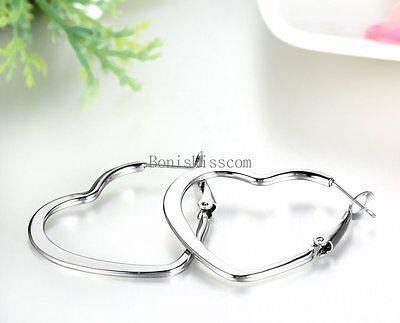 2Pcs Women's Silver Stainless Steel Hollow Heart Hoop Earrings for Ladies - Hollow Womens Earring