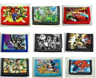 Kids Children Boys Cartoon Character Purse Wallet,Coin Purse,Mario Batman Gifts