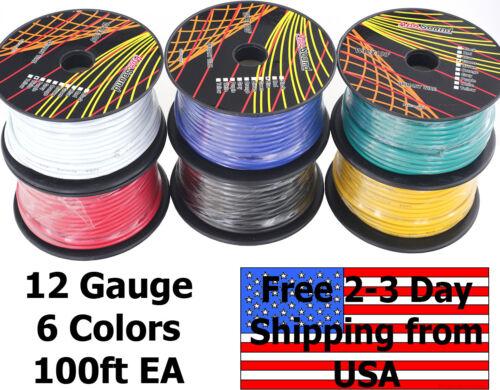 12 Gauge Ga 6 Color Copper Clad CCA 12V Automotive Trailer Hook Up Primary Wire