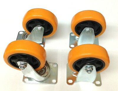 4 Industrial Heavy Duty 4 Caster Plate Polyurethane Swivel And Fixed Wheels
