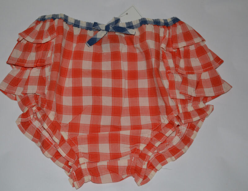 NWT Baby Gap Toddler Plaid Gingham Rust Ruffle Bloomer Diaper Covers 18-24  mos