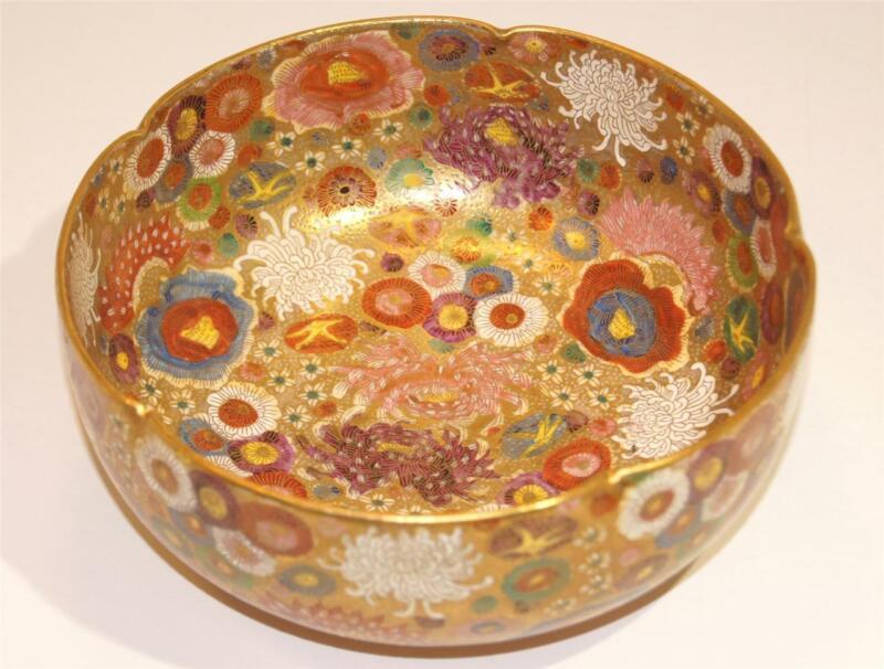 Japanese Satsuma Meiji Period Hand Painted Enamel on Porcelain Bowl late 19th ct
