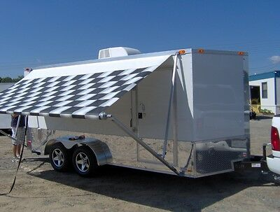 7x16 Enclosed Motorcycle Cargo Trailer Ac Unit Awning White Race Trailer New