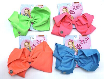 JoJo Siwa Lot of 4 Large Hair Bow Clips Neon Green Pink Blue Coral New Bows Set - Neon Pink Hair Bow