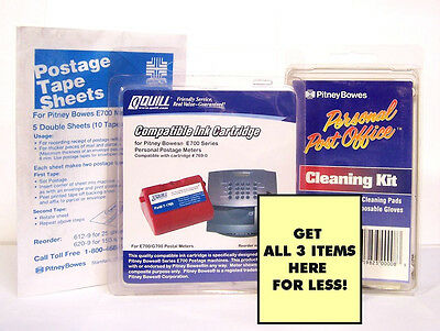 Pitney Bowes E700 Ink Cartridge 769-0 W Postage Tape Sheets Cleaning Kit