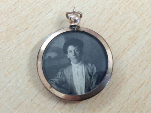 ANTIQUE ROLLED GOLD DOUBLE PHOTO LOCKET PENDANT 1900