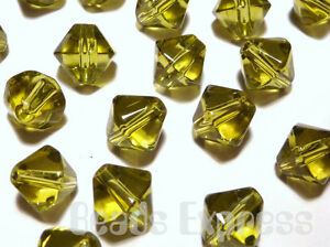40-Crystal-Glass-Bicone-Beads-Olive-Green-8mm-BB8009