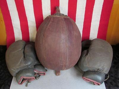 Vintage Spalding Boxing Leather Double End Punching Duck Bag w/ 2 Pairs Gloves