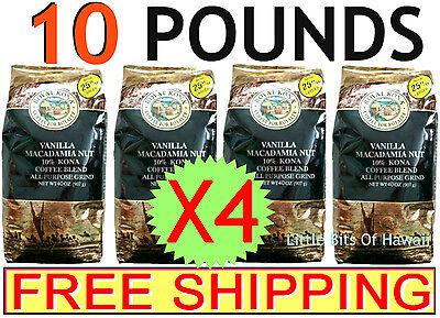 Nobleman KONA COFFEE VANILLA MACADAMIA NUT – X4 – 40 oz. Bags = 10 POUNDS - HAWAII