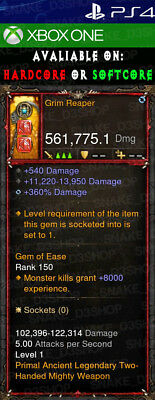 Diablo 3 Ps4 - Xbox One - Primal Modded Weapon - Grim - Grim Reaper Weapon