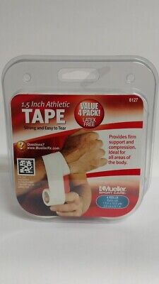 """Mueller Sport Care 1.5 Inch Athletic Tape, 4 Rolls (1.5"""" X 10 Yards Each)"""