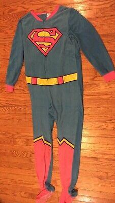 SUPERGIRL Juniors 12-14 L One Piece Footed Pajamas Sleepwear Costume Cape 1733 C