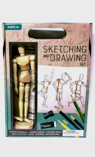 Sketching Drawing Artist Set With Poseable Jointed Wooden 8 Inches Mannequin New