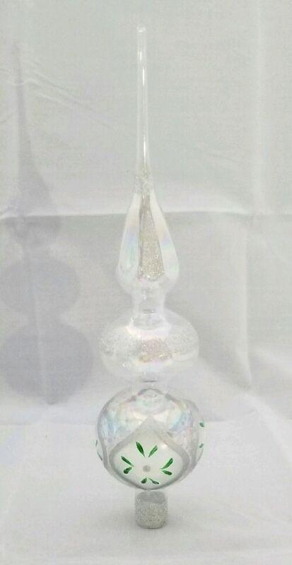 """Finial Glass Tree Topper Silver Christmas Glitter Translucent 13"""" Kurt Adler"""
