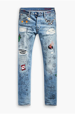 Levi's Limited Edition 501 Original Straight Leg Scribble Jeans $298 NEW 33x30
