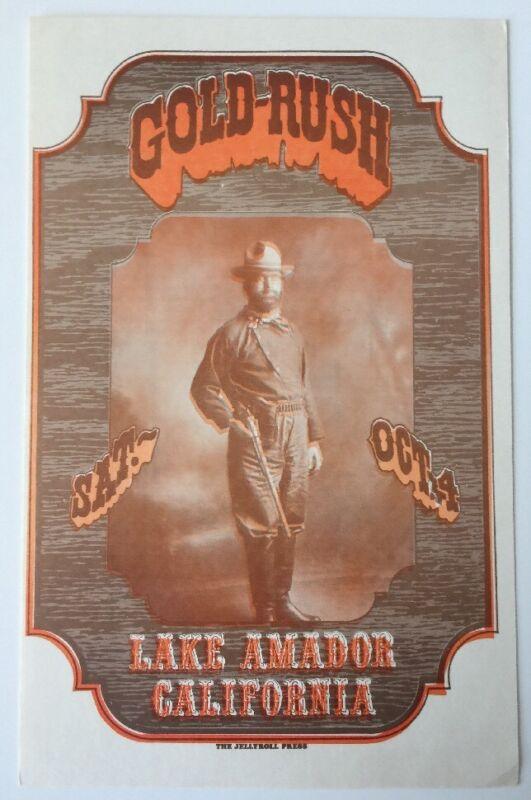 1969 Lake Amador Gold Rush Concert Handbill Santana, Ike and Tina Turner