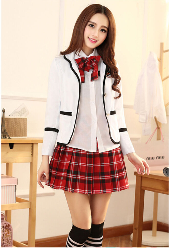 Купить Unbranded - Korean Japanese School Girl Student Uniform w/Suit Jacket Cosplay Costume Size S