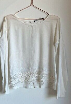 Zara White Embroidered Blouse Size S
