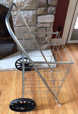 Vintage Grocery Store Shopping Cart Rolling Basket Metal Holder