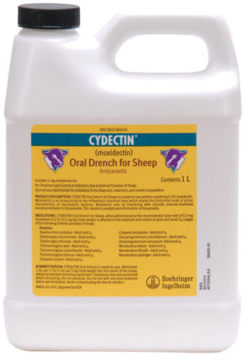 CYDECTIN ORAL DRENCH FOR SHEEP 1 mg Moxidectin Dewormer Adult and Larval 1 Liter