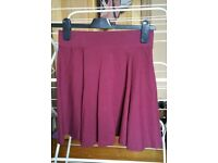 H&m burgundy skirt xs extra small 8 6 stretchy mini short vgc