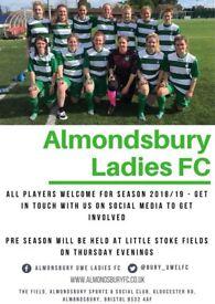 Almondsbury ladies need new players for 2018/19 season ,