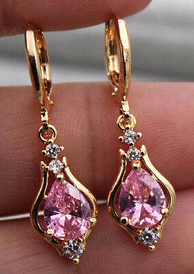 18K Yellow Gold Filled   1 2 Hollow Teardrop Pink Topaz Zircon Dangle Earrings