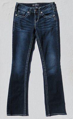 Silver Jeans Jeans Bestickt (Silber Jeans Dunkelblau Stretch Denim Weiß Bestickt Aiko Bootcut Größe 25 X 33)
