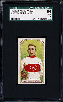 1911-12 C55 Imperial Tobacco #27 Walter Smaill (hand on stick) SGC 84 Single Stick Tobacco