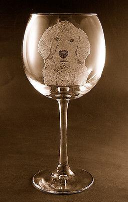 Etched Golden Retriever on Large Elegant Wine Glasses - Set of 2