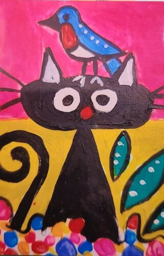 NEW NOT ACEO PHOTO PRINT 4X6 WITH A FRIEND IN MY GARDEN CAT 2000-now  - $7.99