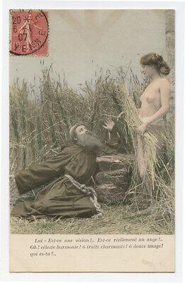 c 1907 French Risque NUDE BEAUTY w/ Catholic Monk photogravure photo postcard