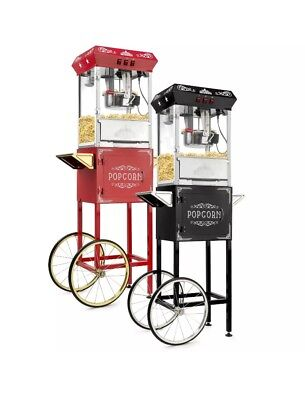 Olde Midway Vintage Style Popcorn Machine Maker Popper With Cart And 8-ounce Ket