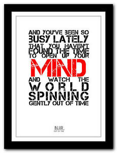 BLUR-Out-Of-Time-song-lyric-poster-art-typography-print-4-sizes