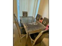 🔥🔥LOUIS VUITTON AND VERSACE🔥🔥 EXTENDABLE DINING TABLE WITH 6 CHAIRS DIFF COLORS
