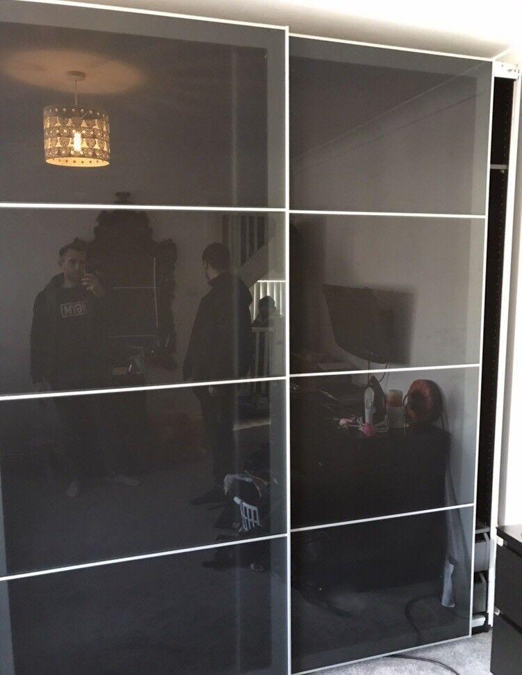 Ikea Pax Black Double Wardrobe With Sliding Glass Doors Good