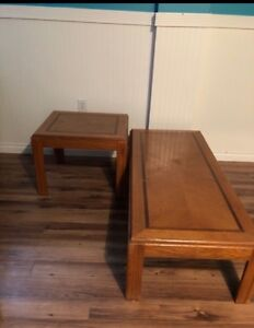 Real wood coffee table $80 for both