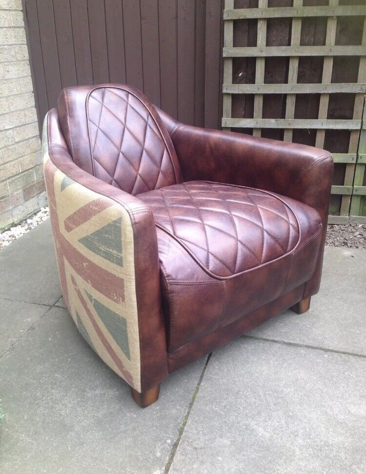 Brown Leather Aviator Tub Chair Union Jack Design In